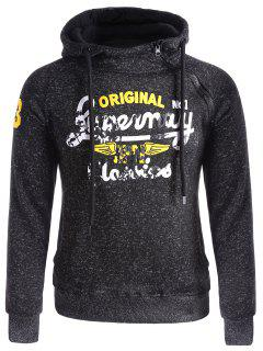 Asymetrical Zip Graphic Fleece Hoodie - Black 3xl