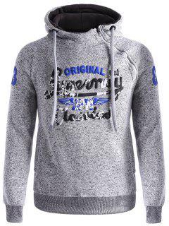 Asymetrical Zip Graphic Fleece Hoodie - Gray L