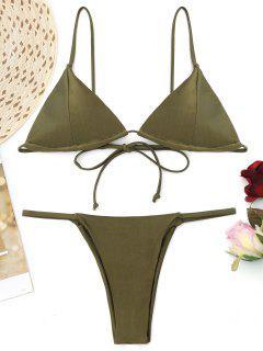 Cami Back Tied Thong Bikini Set - Army Green S