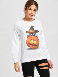 Pumpkin Printed Halloween Sweatshirt - White L