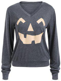 Long Sleeve V Neck Pumpkin Print Halloween Sweatshirt - Deep Gray S
