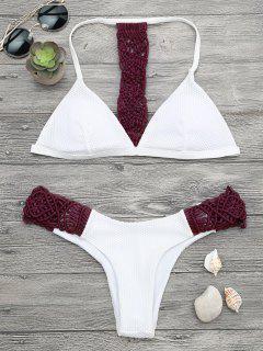 Gepolstertes Macrame Fishnet Bikini Set - Weinrot S