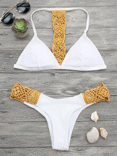 Gepolstertes Macrame Fishnet Bikini Set - Gelb S