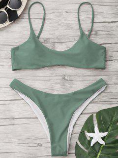 High Cut Scoop Thong Bikini Set - Pea Green M