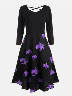 Cross Back Halloween Witches Print Flare Dress - Black 2xl