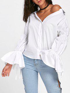 Oversized Convertible Bell Sleeve Shirt - White Xl