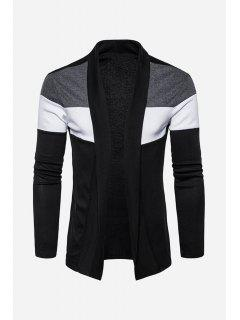 Shawl Collar Cotton Blends Color Block Cardigan - Black 2xl