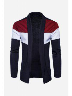 Shawl Collar Cotton Blends Color Block Cardigan - Cadetblue S
