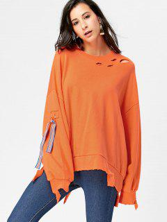 Asymmetric Drop Shoulder Ripped Pullover Sweatshirt - Orange