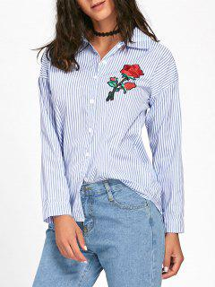 Floral Embroidered High Low Striped Shirt - Blue M