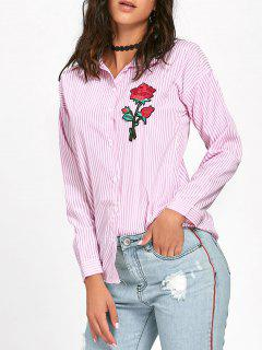 Floral Embroidered High Low Striped Shirt - Pink L