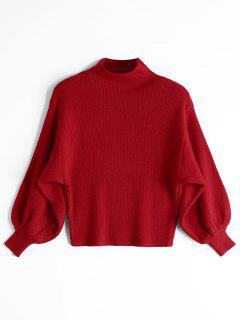 Lantern Sleeve Mock Neck Sweater - Red
