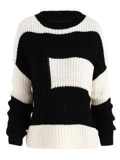 Color Block Chunky Boyfriend Plus Size Sweater - Black