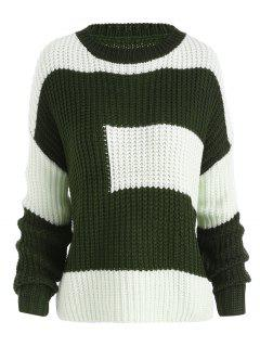 Plus Size Color Block Chunky Boyfriend Sweater - Blackish Green