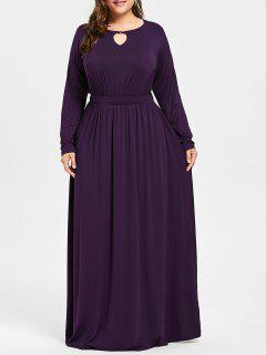 Plus Size Keyhole Maxi Dress - Deep Purple 3xl