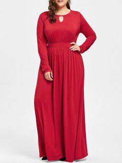 Plus Size Schlüsselloch Maxi Kleid - Rot 3xl