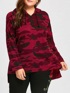 Plus Size Long High Low Camo Hoodie - Red 3xl