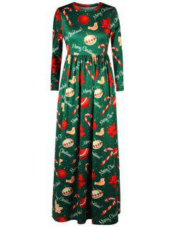 Merry Christmas Tree Print Maxi Dress - Green Xl