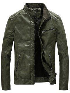 Stand Collar Pleat PU Leather Zip Up Jacket - Army Green L