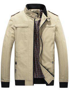 Stand Collar Rib Panel Epaulet Zip Up Jacket - Light Khaki L