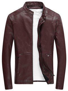 Stand Collar Zip Up Fleece Faux Leather Jacket - Claret 3xl