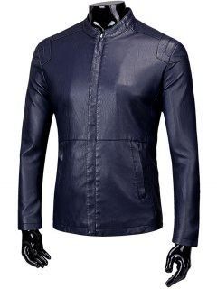 Stand Collar Zip Up Fleece Faux Leather Jacket - Deep Blue L