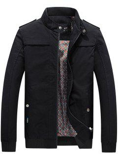 Soporte De Cuello Rib Panel Epaulet Zip Up Jacket - Negro L