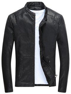 Soporte De Cuello Con Cremallera Fleece Faux Leather Jacket - Negro L