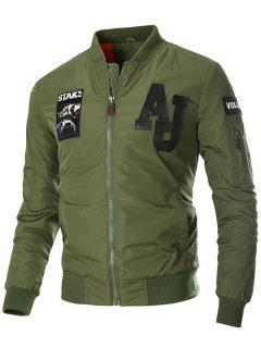 Zip Up Patch Design Bomber Jacket - Army Green L