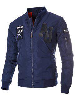 Zip Up Patch Design Bomber Jacket - Deep Blue L
