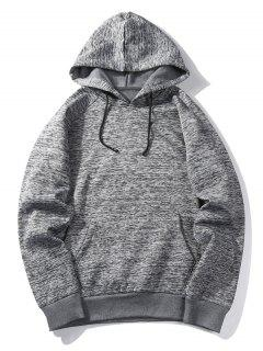 Hooded Stripe Pocket Fleece Pullover Hoodie - Deep Gray L