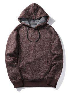 Hooded Stripe Pocket Fleece Pullover Hoodie - Coffee M