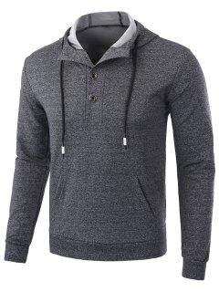 Fleece Casual Half Button Hoodie - Deep Gray L