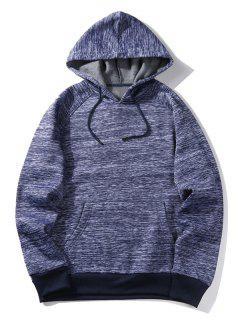 Hooded Stripe Pocket Fleece Pullover Hoodie - Blue M