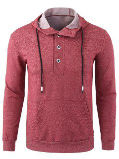 Fleece Casual Half Button Hoodie - Red L