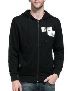 Hooded Zip Up Graphic Print Hoodie - Black Xl