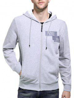 Hooded Zip Up Graphic Print Hoodie - Gray M