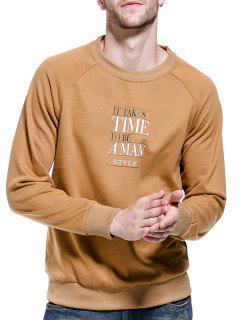 Raglan Sleeve Graphic Print Pullover Sweatshirt - Khaki M