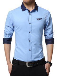 Turndown Collar Edging Paisley Print Shirt - Azure 3xl