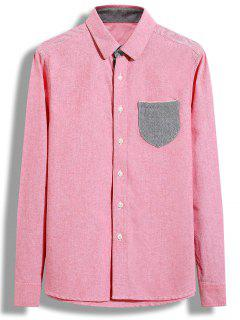 Turndown Collar Color Block Pocket Shirt - Papaya M