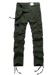 Zipper Fly Drawstring Feet Pockets Cargo Pants - Army Green 32