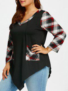 Plus Size Irregular Long Sleeve Tartan T-shirt - Black 5xl