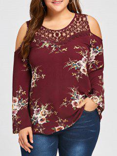 Plus Size Lace Panel Cold Shoulder Floral Blouse - Wine Red Xl