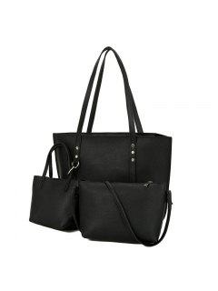 3 Pieces PU Leather Shoulder Bag Set - Black
