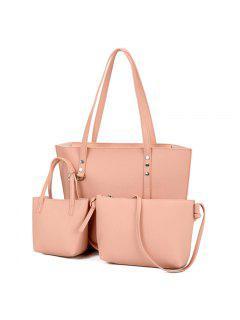 3 Pieces PU Leather Shoulder Bag Set - Pink
