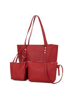 3 Pieces PU Leather Shoulder Bag Set - Red