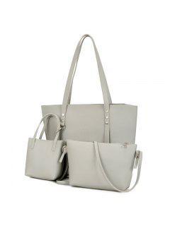 3 Pieces PU Leather Shoulder Bag Set - Light Gray