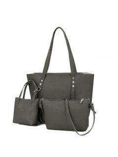 3 Pieces PU Leather Shoulder Bag Set - Deep Gray