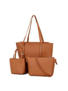 3 Pieces PU Leather Shoulder Bag Set - Brown