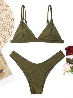 Cami High Cut Thong Bikini Set - Army Green Xs